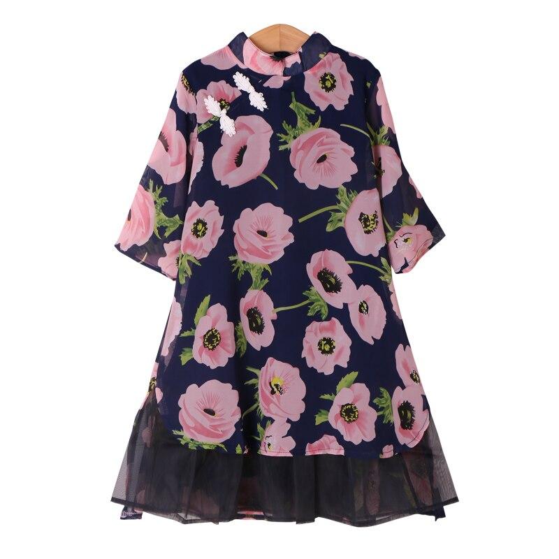 Fleur filles robe d'été mode adolescente enfants princesse vêtements enfants fête vêtements à manches courtes robe florale pour les filles - 3