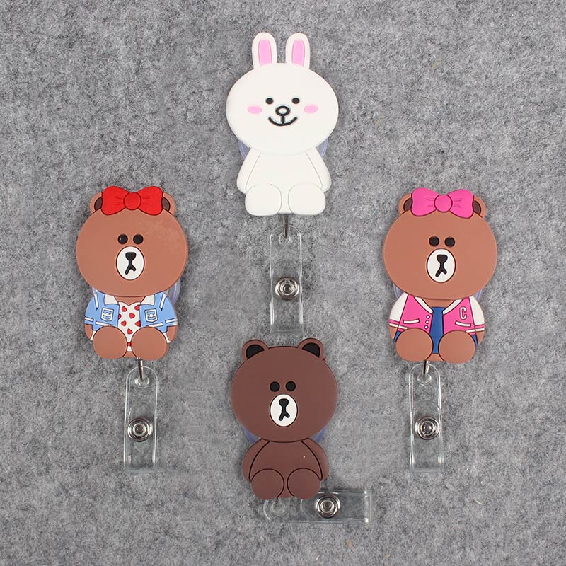 Cartoon Bear Clown Retractable Prisoner Bowknot Bear Badge Card Holder Reel Nurse School Exhibition Enfermera Name Card Chest