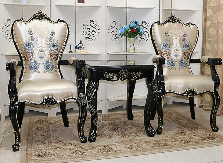 Solid Wood Armchair European-style Dining Chair Ivory White Back Office Hotel Soft-cover Stool Princess Chair.