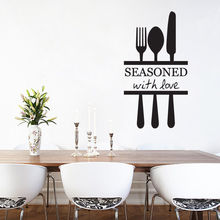 Kitchen Quotes Vinyl Wall Sticker Fork Spone Knife Decal Decoration Art Mural Removable Wallpaper AY982