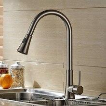 Кисть никель кухня кран Pull Down раковина смеситель для кухни torneira Cozinha кухня смеситель