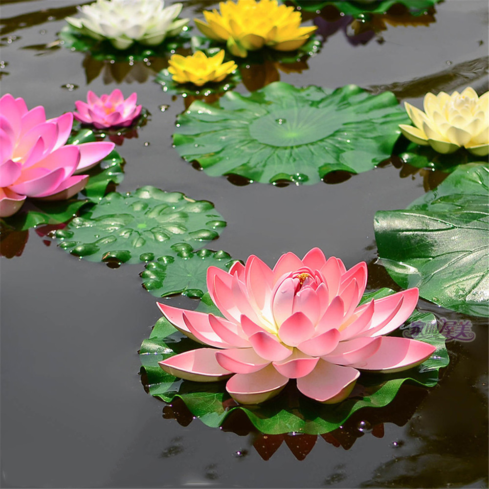 1pcs Artificial Lotus Water Lily Floating Flower Pond Tank Plant