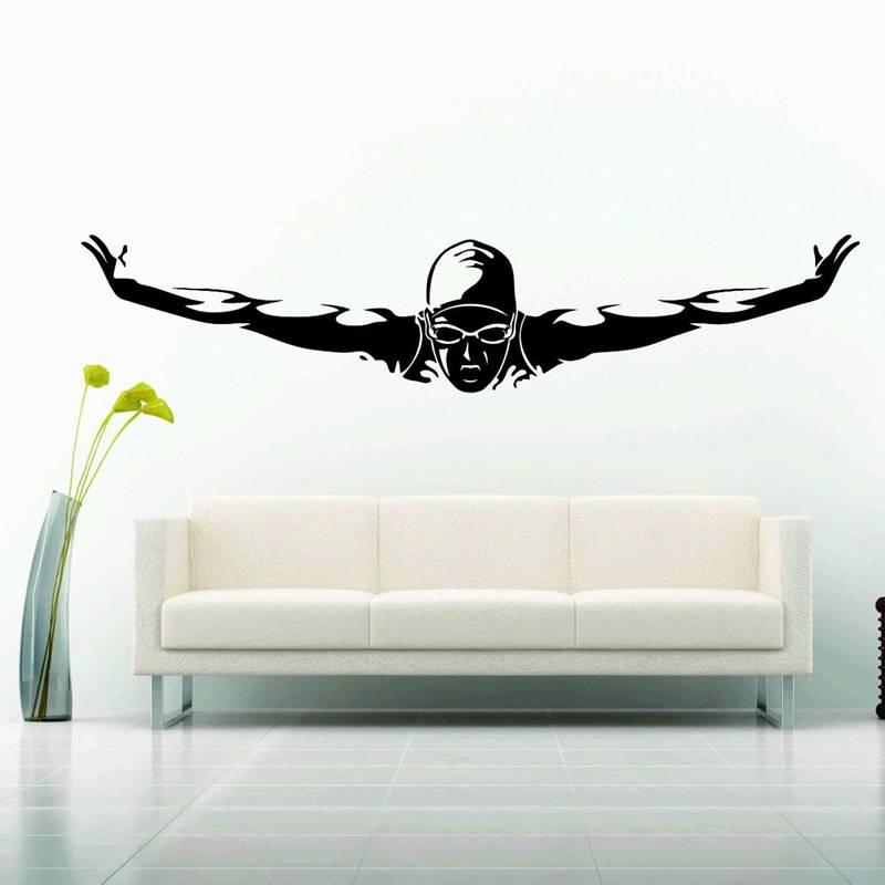 Buy swim sticker logo name swimmer decal for Custom vinyl mural prints