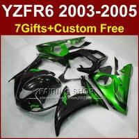 התאמה אישית של חלקי תיקון עבור ימאהה r6 fairing ערכת גוף 03 04 05 אופנוע מעטפת שחורה ירוקה סטי YZF R6 2003 2004 2005 WG5