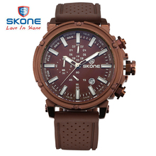 SKONE Brand 6 Hands 24 Hours Function Silicone Sport Watches Men Date Chronograph Quartz watch Hours