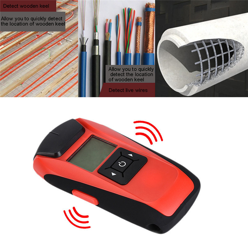 Multi-function Handheld LCD Wall Stud Finder Metal Wood AC Cable Live Wire Scanner Detector Tester Measuring Tool