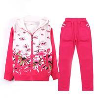 2017 Autumn Kids Children Training Jogging Suit Football Kits Jerseys Suits Girls Sweatshirt Pants Floral Casual