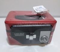 20cm 16cm 9cm Double Insurance Red Key And Password Safes Metal Portable Cashier Box Piggy Bank