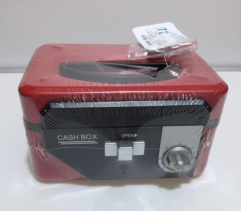 20cm*16cm*9cm Double Insurance Red Key and Password Safes Metal Portable Cashier Box Piggy Bank