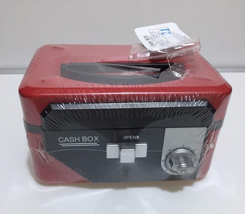 Double Insurance Red/Blue/Black Key And Password Safes Metal Portable Cashier Box Piggy Bank