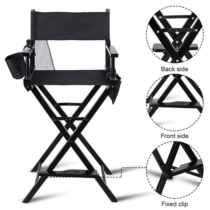 31 Tall Folding Makeup Chair Proffessional Studio Artist Makeup Chair with Side Storage Bag and Large Net Pouch Estink Directors Chair
