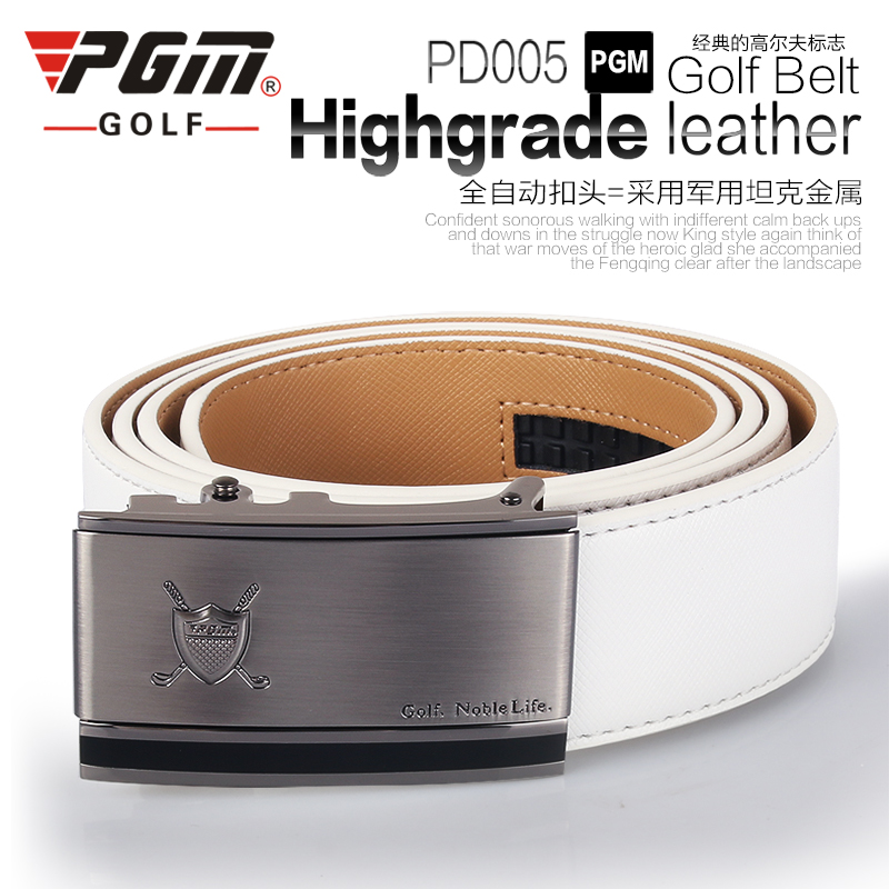 New PGM Genuine Leather Men Belts Sports leisure Pant Leather Belt Buckle Automatically Clothing GOLF Braces Trousers Belt