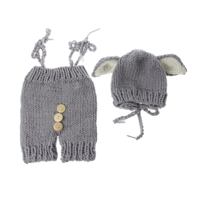 Persevering 2pcs Cute Baby Studio Clothing Set Newborn Photography Props Handmade Knitted Overalls With Fox Ear Hat Photography Accessories Accessories Boys' Baby Clothing