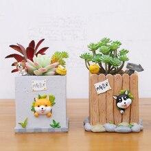 1pc Flowerpot Lovely Cartoon Puppy Resin Flower Pot Succulent Plants Pot Bonsai Planter Home Garden Decor Huskies Corgi Akita