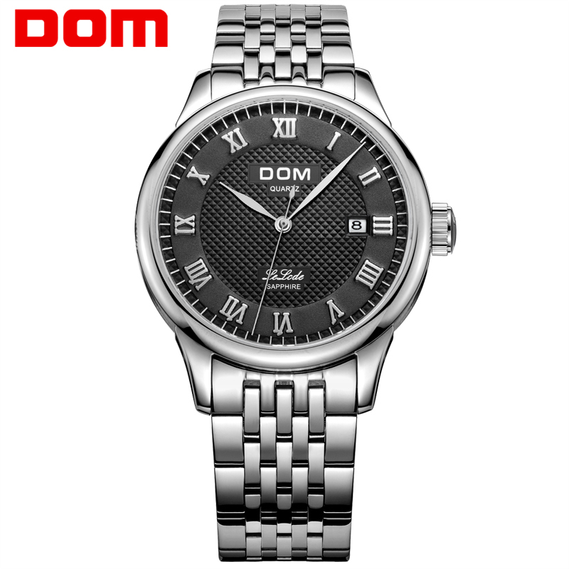 DOM  mens watches top brand luxury  waterproof quartz  Business leather watch  reloj hombre marca de lujo Men watch M-41 1 pcs l39h black lcd display touch screen digitizer assembly for sony xperia z1 l39h c6902 c6903 free shipping