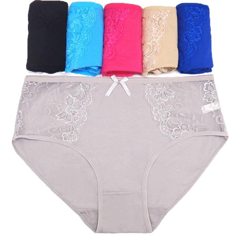 4pcs women plus size   panties   mid rise lace pachwork briefs for girls underpant sexy lingerie cotton   panties   underwear2xl 3xl 4xl