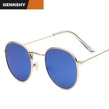 цена на 2017 Round Sunglasses Women Retro Brand Designer Metal  Sun Glasses Vintage Pink Mirror Eyewear Lady UV400