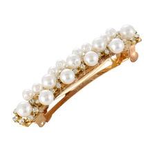 цена на Hot girl pearl hairpin hair accessories Korean girl hollow spring clip female fashion elegant pearl rhinestone hairpin flower fe