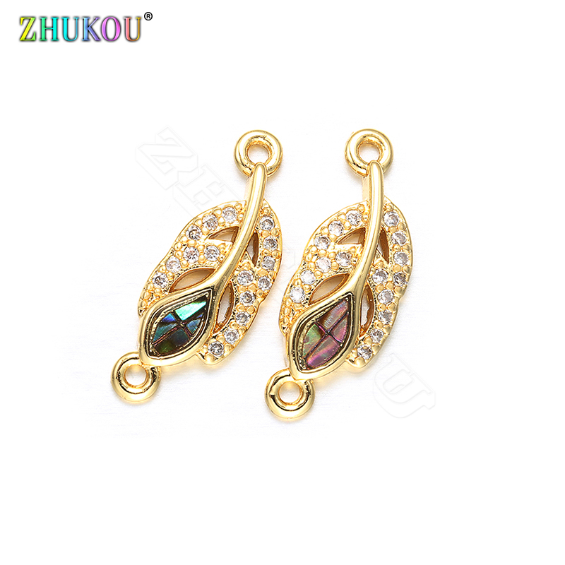 ZHUKOU 2019 1PCS Fashion Charms Accessories For Jewelry Earring DIY Handmade Women's Necklace Jewelry Connector VS299 6x17mm