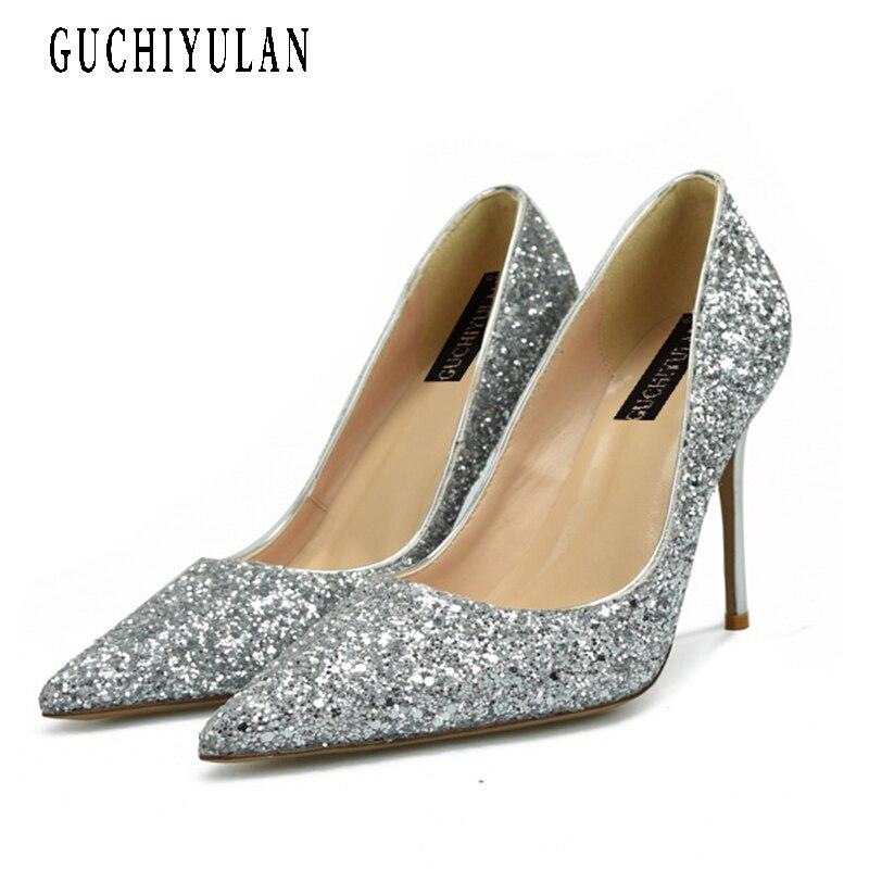 Женские туфли на высоком каблуке Для Женщин серебряные туфли-лодочки туфли на высоком каблуке для Для женщин на высоком каблуке Острый носо...