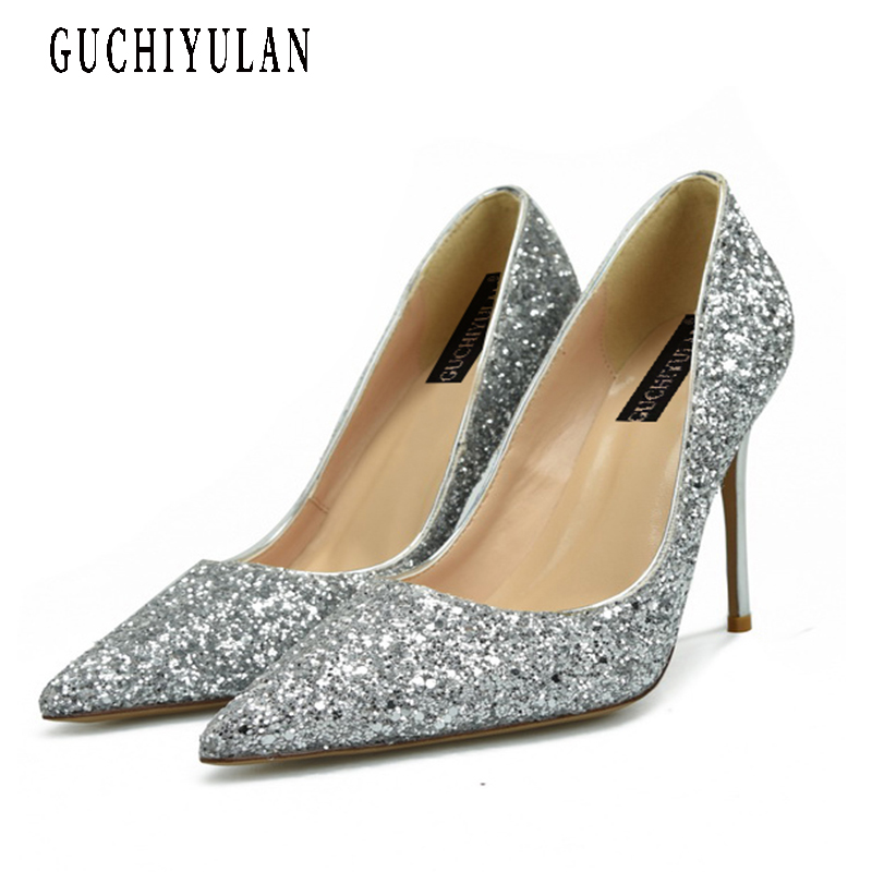 Shoes Woman High Heels Women Silver Pumps Stiletto Heeled Shoes For Women High Heels Pointed Toe Gold Wedding Shoes Big Size 43 aidocrystal shoes woman high heels women pumps stiletto thin heel women s shoes pointed toe high heels wedding shoes size 35 42