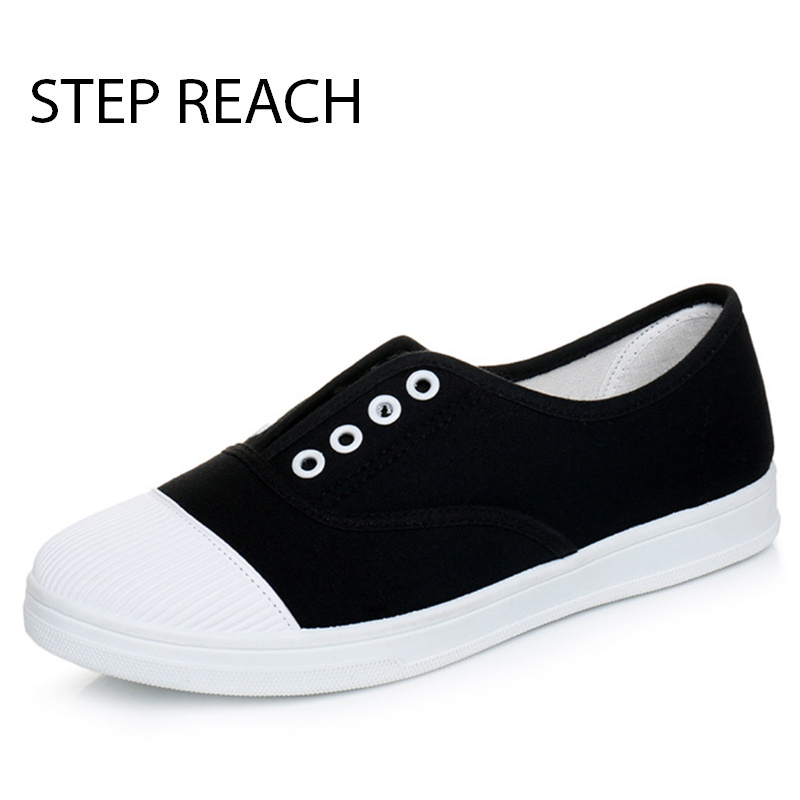 STEPREACH2017 Fashion Women Canvas Shoes Low Breathable Women Solid Color Flat Shoes Casual White Leisure Cloth Shoes Size rkm mk22 amlogic s912 2g 16g android 6 0 smart tv box tronsmart tsm01