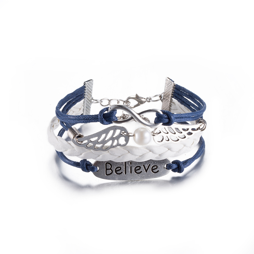 Fashion Jewelry Woven Leather Bracelet Believe wings Alloy Bracelet Women Casual Personality Vintage Punk Bracelet Men