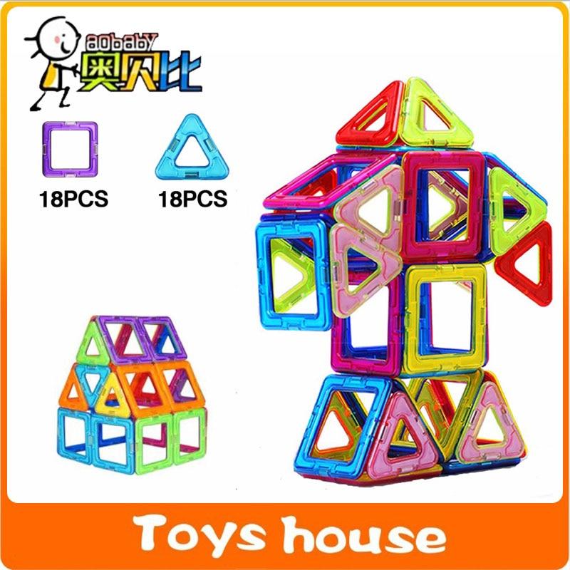 36 шт. большой Размеры Магнитная игра строительных блоков дизайнер просветить Кирпичи магнитных блоков игрушки модели и строительство игрушки для детей