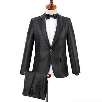 Men Business Casual Slim Suit Sets Fashion Tuxedo Wedding Formal Dress Blazer Party Stage Show Shiny Clothes (Jackets + Pants)