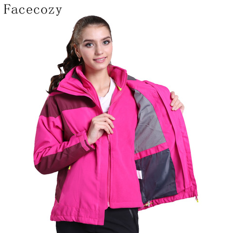 Facecozy Women Outdoor Hiking SoftShell jackets Winter Hooded Thermas Camping Jackets Female Windproof Climbing Coat 2 Pieces Pakistan