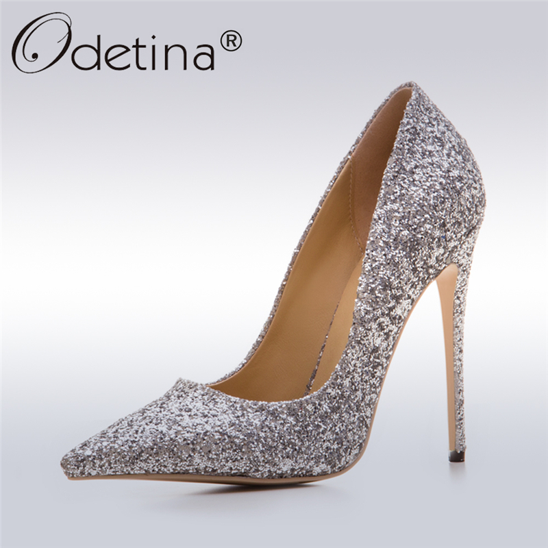 Odetina 2017 New Fashion Gold Silver Glitter Pumps Pointed Toe Sexy High Heels Stiletto Women Wedding Party Shoes Big Size 33-43 odetina 2017 new women 12 cm gradient heels slip on extreme high heel stiletto pumps sexy party shoes pointed toe big size 33 43