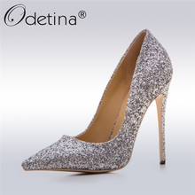 Odetina 2017 New Fashion Gold Silver Glitter Pumps Pointed Toe Sexy High Heels Stiletto Women Wedding Party Shoes Big Size 33-43(China)