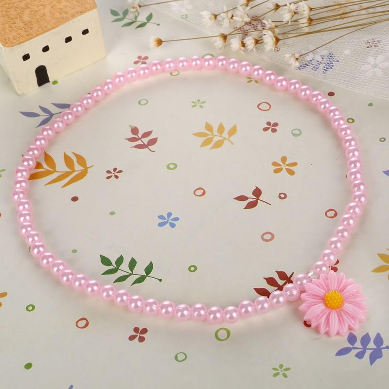 Friendly Resin Infant Nice Baby Flower Necklace Bracelet Finger Ring Set Kids Jewelry Set Children Accessories Handmade 4