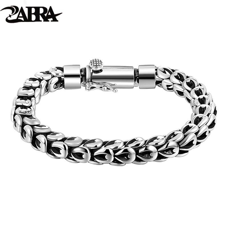 ZABRA Gothic Real 925 Sterling Silver Dragonscale Bracelet Men High Polished Vintage Punk Rock Bracelets Jewelry For Mens zabra luxury 925 silver bracelets men vintage punk crown mens skull bracelet biker gothic sterling silver jewelry erkek bileklik