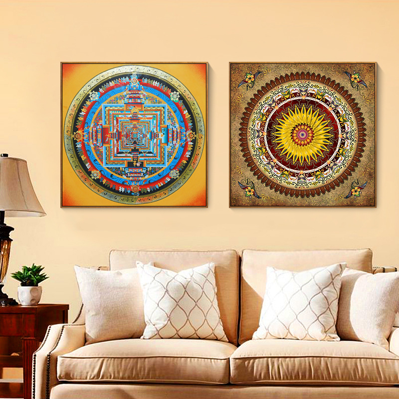 Chinese style Thangka entrance decorative painting home bedroom abstract painting office hotel sofa background wall mural in Painting Calligraphy from Home Garden