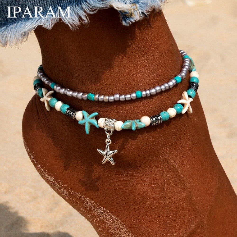IPARAM New Fashion Retro Bohemia Round Rune Starfish Anklet Beach Feet Jewelry Simple Pull Beads Bobo Anklet Bracelet For Women