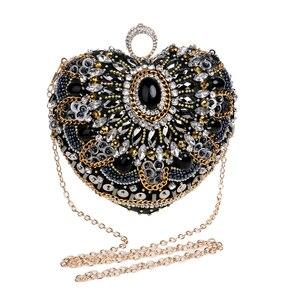 Image 5 - SEKUSA Heart Women Bag Finger Ring Diamonds Purse Clutch Chain Shoulder Emroidery Messenger Bag Beaded Rhinestones Weeding Bag
