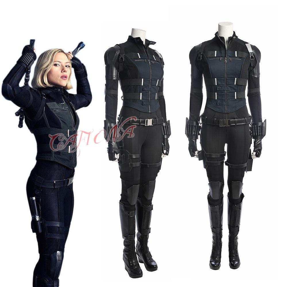Cafiona Sexy Jumpsuits Avengers 3 Infinity War Black Widow Natasha Romanoff Cosplay Costume Full Set