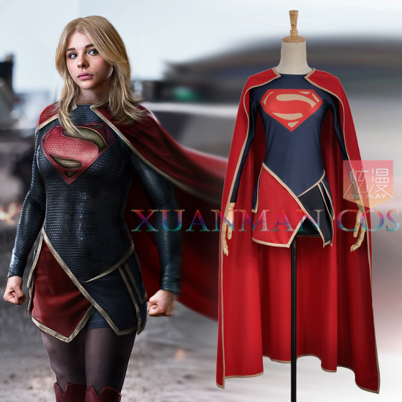 Movie Supergirl Kara Zor El Dress Cape Lycra Spandex Sexy Women Dress Cosplay Costume For Adult Party Woman Dress Skirt Fashion