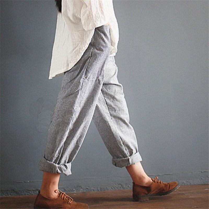 YRRETY Summer New Woman Linen Striped Harem Pants Fashion Women Cotton Loose Striped Full Pants Female 2018 Casual Pants S-5XL 2