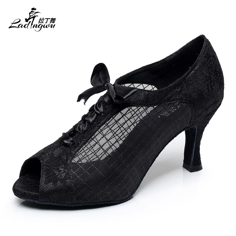 Ladingwu 2018 New Latin Dance Shoes Lace and Mesh Red Gray  Black Shoes For 60a072c55595