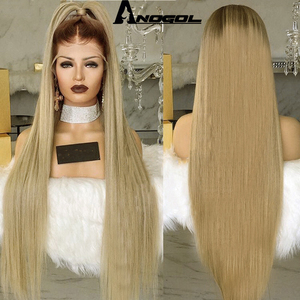 Image 3 - Anogol High Temperature Fiber Peruca Long Straight Synthetic Hair Wig Brown Ombre Ash Blonde Swiss Lace Front Wigs for Cosplay