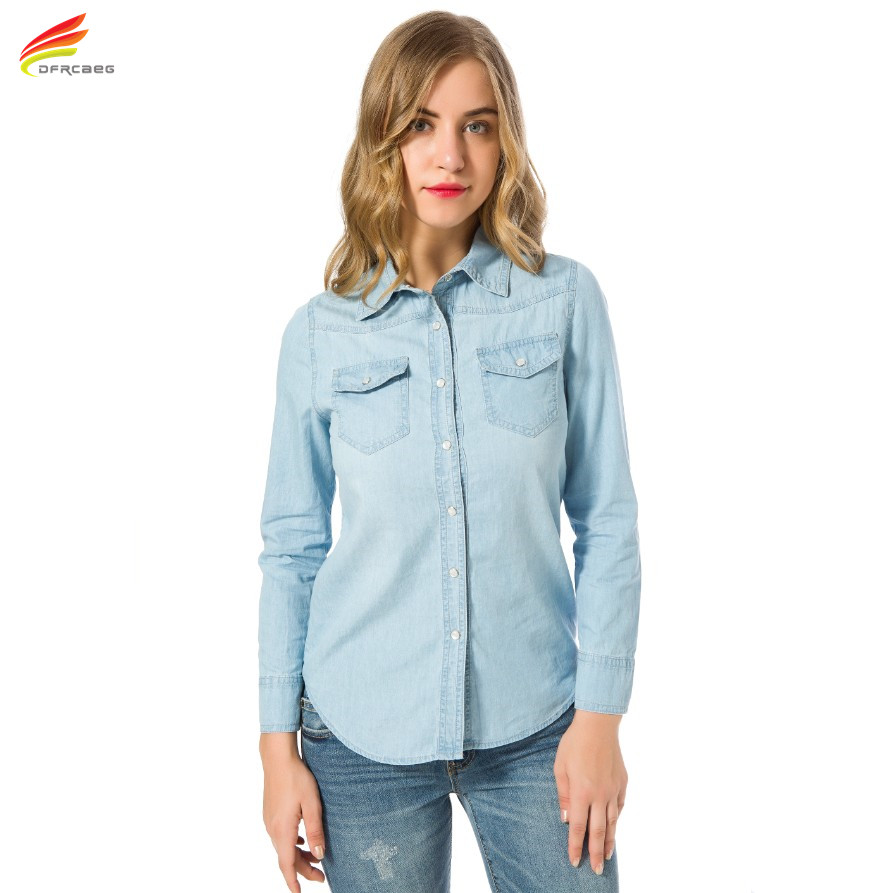 New 2017 Autumn Woman Denim Shirt Fashion Style Long Sleeve Casual Shirts Women 2 Colors font