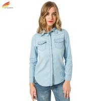 New 2017 Autumn Woman Denim Shirt Fashion Style Long Sleeve Casual Shirts Women 2 Colors Blouses Plus Size Blusa Jeans Feminina