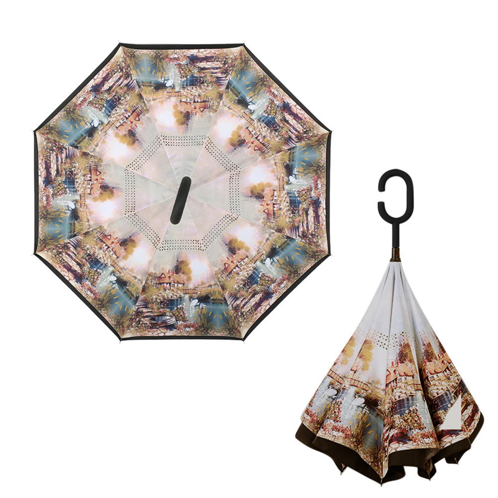 Double Layer Inverted Inverted Umbrella Is Light And Sturdy Christmas Snowy Background Light Garlands Falling Reverse Umbrella And Windproof Umbrella