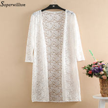 2019 Summer Kimono Cardigan White Black Lace Sun Blouse Women Long Shirt Plus Size 4XL Female Tops Beach Cover Ups Outwear V09(China)