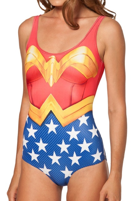 BATMAN SWIMSUIT Bikini Satu Potong Pakaian Renang Seksi S SUPERMAN WONDER WOMAN Bodysuit I AM THE BATMAN SWIMSUIT Digital Printing Cetak