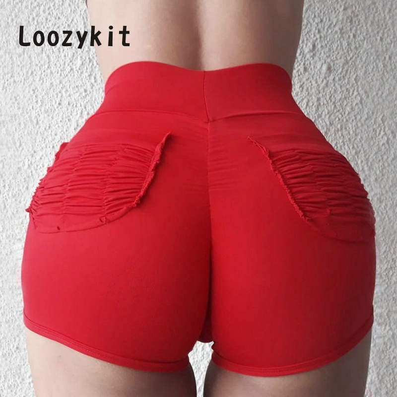 LOOZYKIT Women Casual   Shorts   Summer   Shorts   Female Solid High Waist   Shorts   Girl Sexy Sport Fitness spodenki damskie