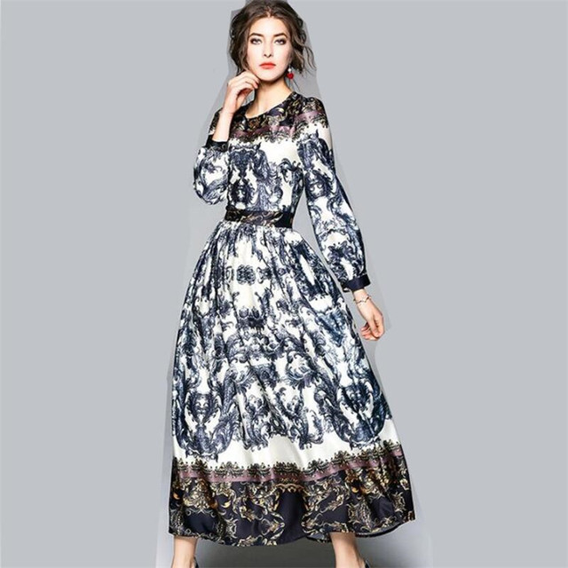 New Arrival Formal Women Maxi Dresses 2018 Casual O Neck Long Sleeves  Elegant Floral Long Party Dress Large Size M-3XL V 672a723df