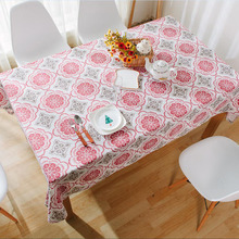Modern Style Linen Cotton Table Cloth Rectangular Geometric Tablecloth  Letter Printed Dustproof Table Covers Toalha De Mesa